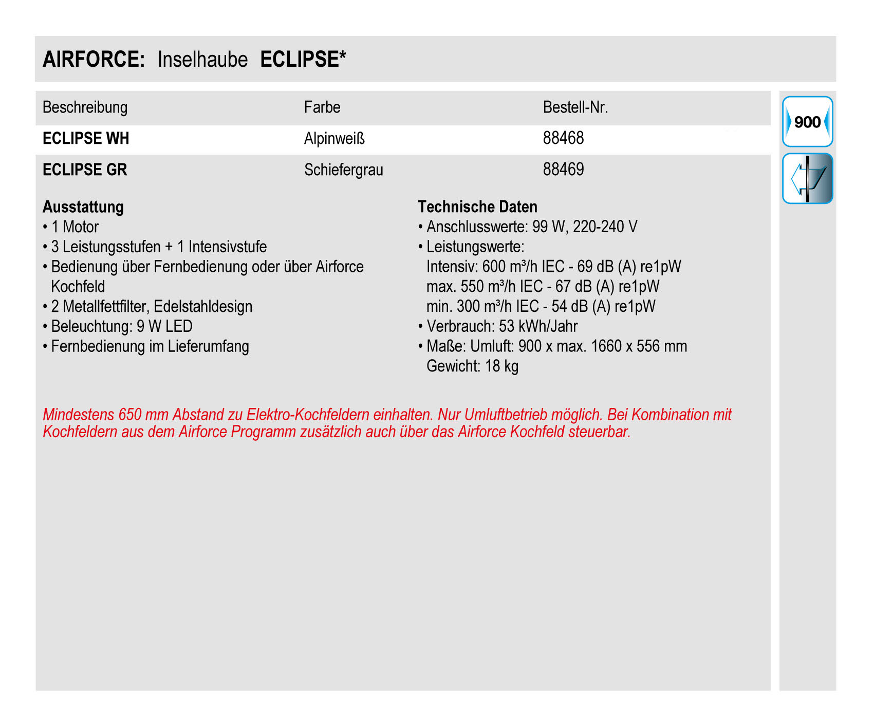 airforce eclipse bianco dunstabzugshaube inselhaube ebay. Black Bedroom Furniture Sets. Home Design Ideas